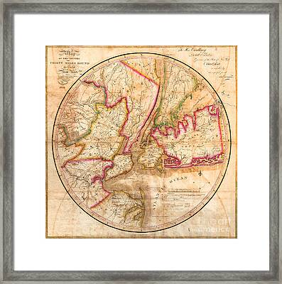 1828 New York City Map Framed Print by Jon Neidert