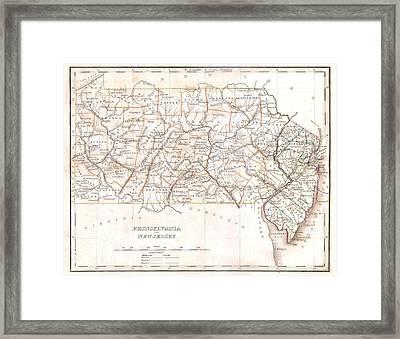 1835 Pennsylvania Map Framed Print by Dan Sproul