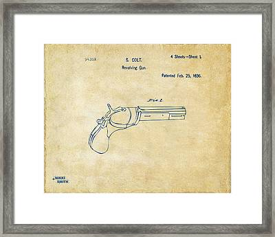 1836 First Colt Revolver Patent Artwork - Vintage Framed Print by Nikki Marie Smith