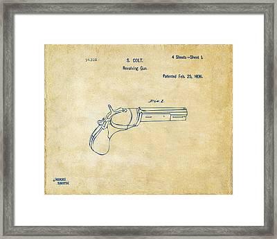 1836 First Colt Revolver Patent Artwork - Vintage Framed Print by Nikki Marie Smith
