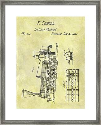 1845 Locomotive Patent Framed Print by Dan Sproul