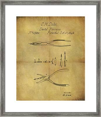 1848 Dental Forceps Patent Framed Print by Dan Sproul