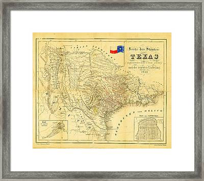 1849 Texas Map Framed Print by Bill Cannon