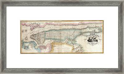 1852 New York City Map Framed Print by Jon Neidert