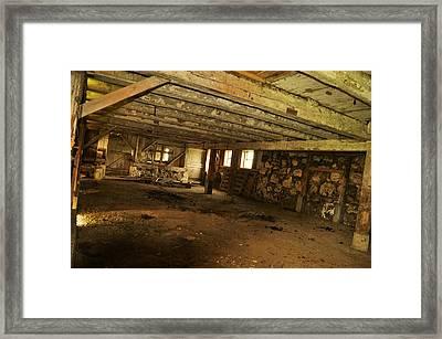 1855 Maple Dell Farm Barn Interior Framed Print