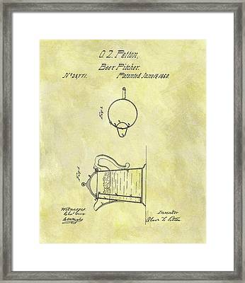 1860 Beer Pitcher Patent Framed Print by Dan Sproul