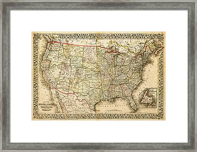 1860 Map Of The United States And Territories Together With Canada By S. Augustus Mitchell Jr. Framed Print