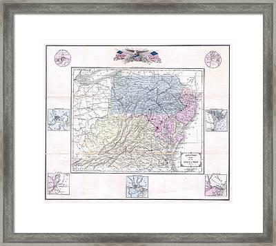 1861 Appleton's Map Of The Seat Of The Civil War  Pennsylvania, Virginia, Maryland, North Carolina  Framed Print
