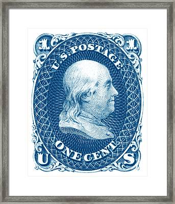 Framed Print featuring the painting 1861 Benjamin Franklin Stamp by Historic Image