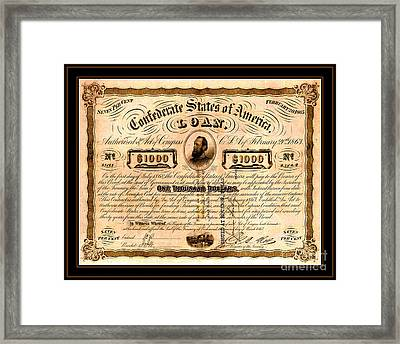 1863 Confederate States Of America Loan With Stonewall Jackson Portrait Issued At Houston Framed Print