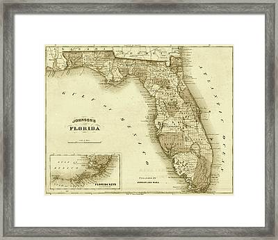 1864 Florida Map Sepia Framed Print by Toby McGuire