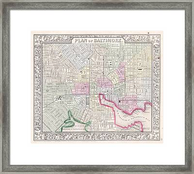 1864 Map Of Baltimore Maryland Framed Print by Celestial Images