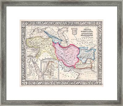 1864 Map Of Persia Turkey And Afghanistan Iran Iraq Framed Print by Celestial Images