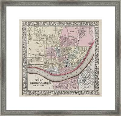 1864 Mitchell Map Of Cincinnati. Ohio Framed Print by Celestial Images