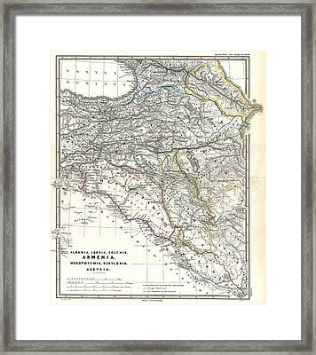 1865 Map Of The Caucasus And Iraq In Antiquity Framed Print by Celestial Images