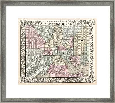 1867 Map Of Baltimore Maryland Framed Print by Celestial Images