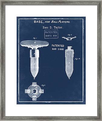 1868 Base For Baseball Players Patent In Blue Framed Print by Bill Cannon