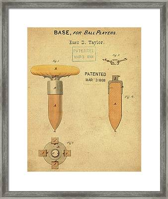 1868 Base For Baseball Players Patent In Sepia Framed Print by Bill Cannon