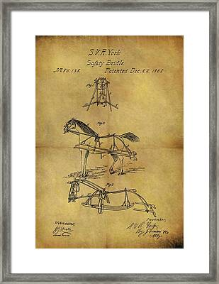 1868 Horse Bridle Patent Framed Print by Dan Sproul