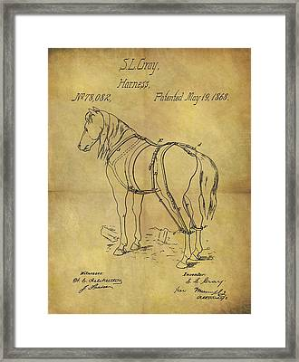 1868 Horse Harness Patent Framed Print by Dan Sproul