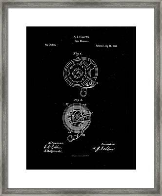 1868 Tape Measure Patent Drawing Framed Print by Steve Kearns