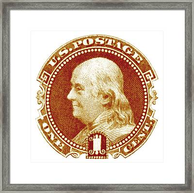 1869 Benjamin Franklin Stamp Framed Print by Historic Image
