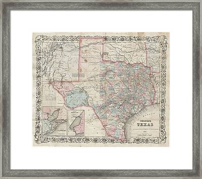 1870 Colton Pocket Map Of Texas Framed Print