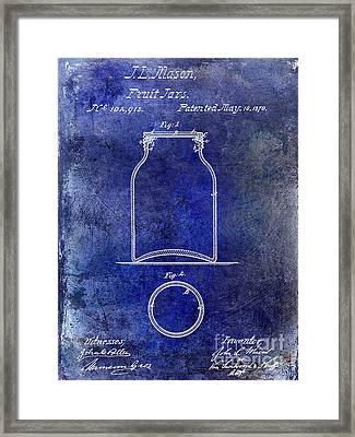 1870 Mason Jar Patent Blue Framed Print