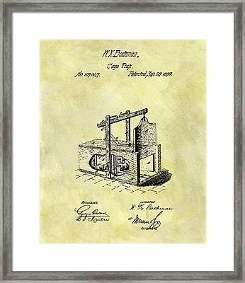 Framed Print featuring the mixed media 1870 Mousetrap Patent by Dan Sproul