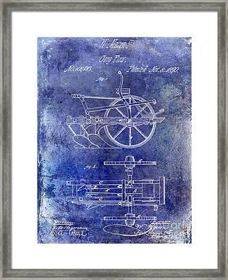 1870 Plow Patent Blue Framed Print by Jon Neidert