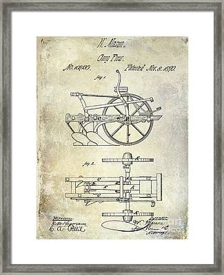 1870 Plow Patent Framed Print by Jon Neidert