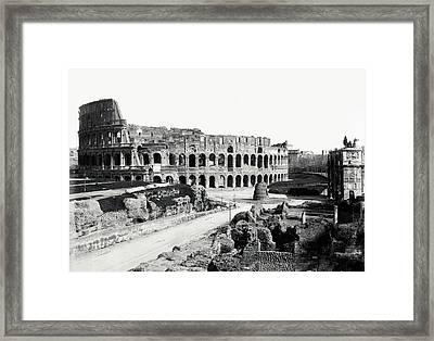 Framed Print featuring the photograph 1870 The Colosseum Of Rome Italy by Historic Image