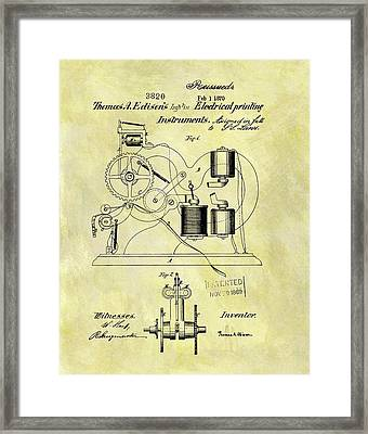 1870 Thomas Edison Patent Framed Print by Dan Sproul