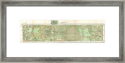 1870 Vaux And Olmstead Map Of Central Park New York City Framed Print