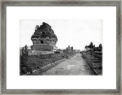 Framed Print featuring the photograph 1870 Visiting Roman Ruins Along The Appian Way by Historic Image