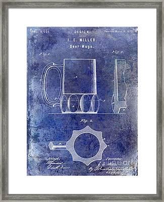 1873 Beer Mug Patent Blue Framed Print by Jon Neidert