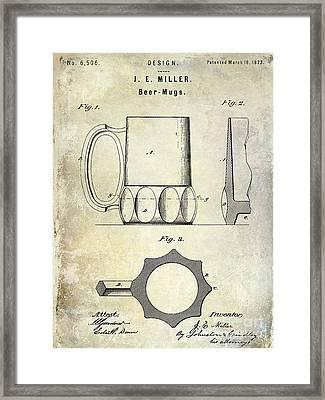 1873 Beer Mug Patent Framed Print by Jon Neidert