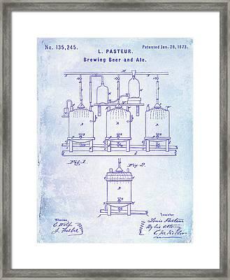 1873 Beer Patent Blueprint Framed Print by Jon Neidert