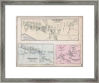 1873 Beers Map Of East Hampton, Bridgehampton, And Amagansett, Long Island, New York  Framed Print by Paul Fearn