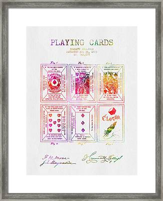 1873 Billings Playing Cards Patent - Color Framed Print by Aged Pixel