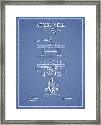 1873 Cider Mill Patent - Light Blue Framed Print by Aged Pixel
