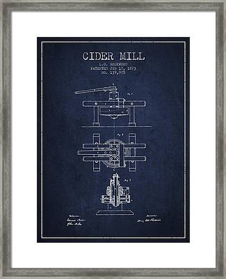 1873 Cider Mill Patent - Navy Blue Framed Print by Aged Pixel