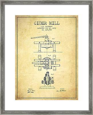1873 Cider Mill Patent - Vintage Framed Print by Aged Pixel