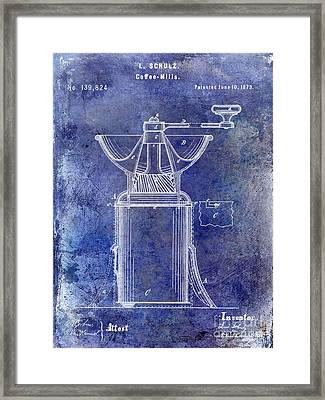 1873 Coffee Mill Patent Blue Framed Print by Jon Neidert