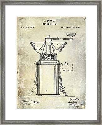 1873 Coffee Mill Patent Framed Print by Jon Neidert