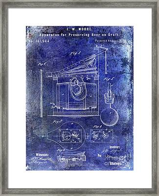 1873 Draft Beer Patent Blue Framed Print