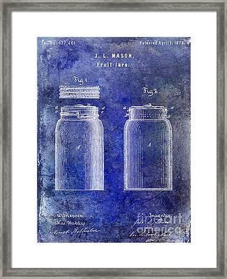 1873 Mason Jar Patent Blue Framed Print by Jon Neidert