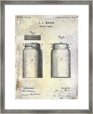 1873 Mason Jar Patent Framed Print