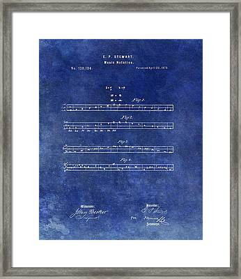1873 Musical Notation Patent Framed Print by Dan Sproul