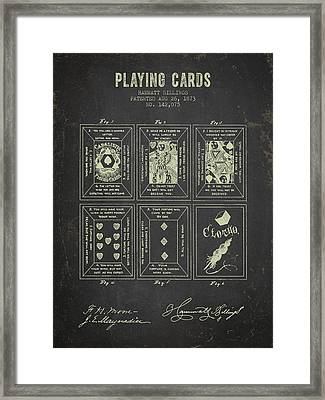 1873 Playing Cards Patent - Dark Grunge Framed Print by Aged Pixel